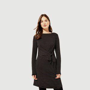 LOFT STRIPED CUFFED TIE WAIST DRESS, SMALL, BLACK